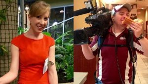 Alison Parker and Adam Ward are shown in photos from Facebook. They died in an on-air shooting in Virginia on Aug. 26, 2015.